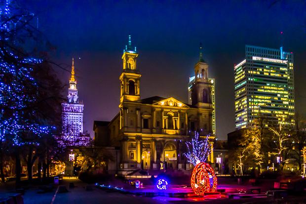 Plac Grzybowski in Warschau im Winter