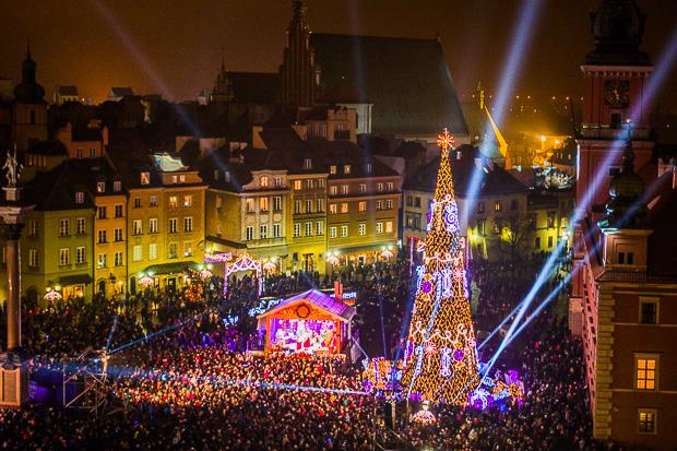 Eröffnung der Weihnachtsbeleuchtung in Warschau
