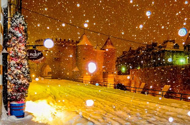 Schnee in Warschau